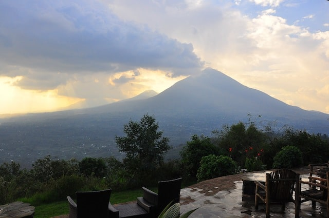 Rwanda - Volcanoes - Virunga view from deck