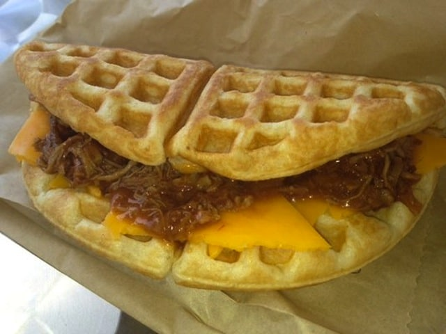 Pulled pork and cheddar waffle sandwich from Boxd. Image via Yelp.