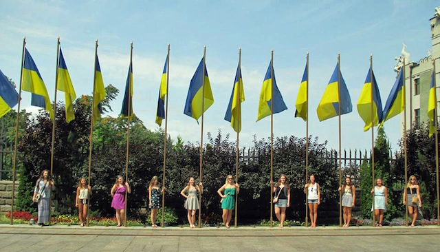 ukrainian flags