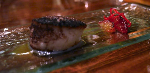 cocoa dusted scallop