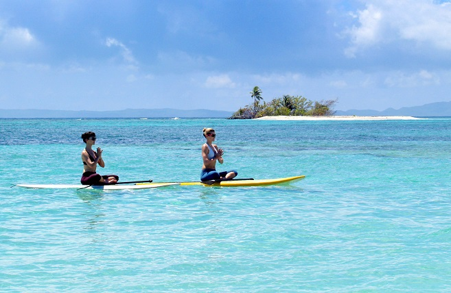 Paddleboard yoga in Puerto Rico