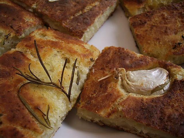 Freshly baked focaccia with garlic and rosemary.  Photo courtesy of Alexander Von Halem.