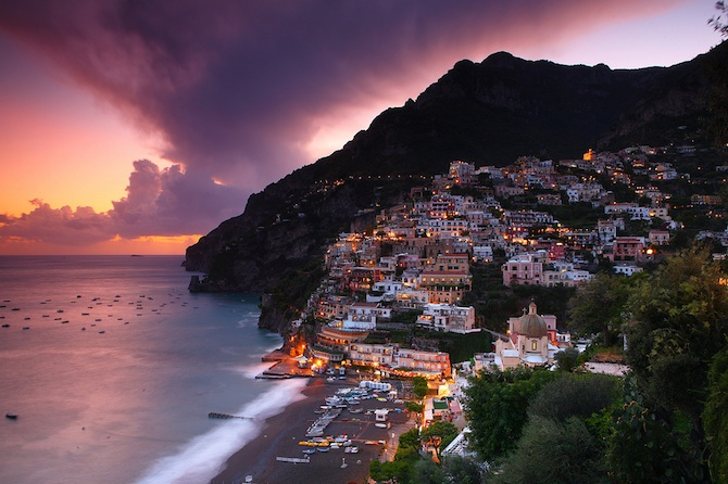 amalfi coast at dusk