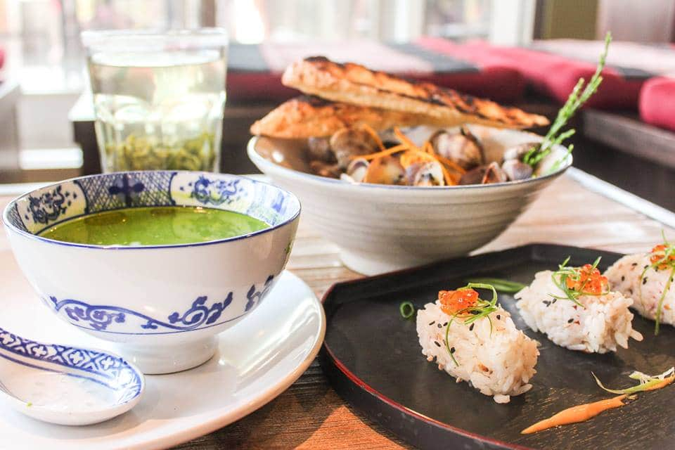 "Laoshan House Special is a complete, balanced meal with Chilled Verdant Soup (grilled asparagus & kale), three Gin-Cured Gravlax Sesame Rice Balls and ""Ga La"" Clams. All centered around one inspirational tea: fresh Spring 2014 Laoshan Green Tea.  Photo courtesy of Verdant Tea."