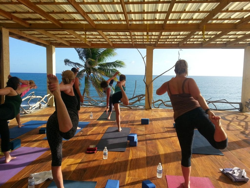 Open Air Yoga at Jake's Hotel in Treasure Island, Jamaica. Photo courtesy of Verve Yoga.