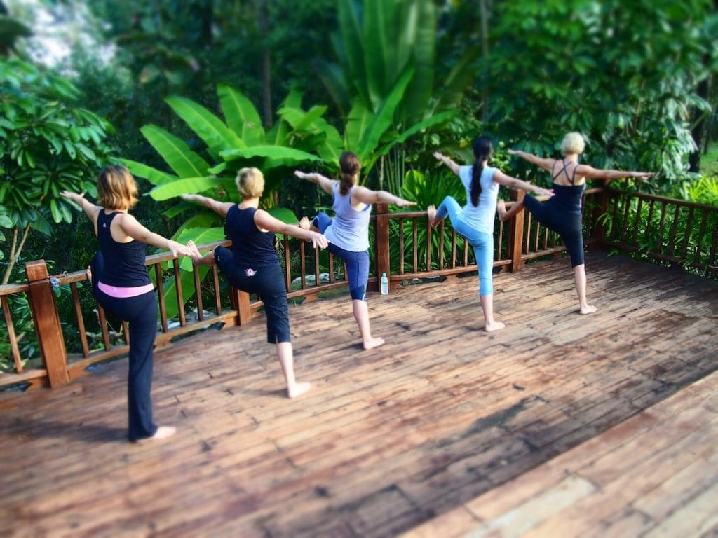 Outdoor yoga in Vietnam.  Photo courtesy of Pravassa.