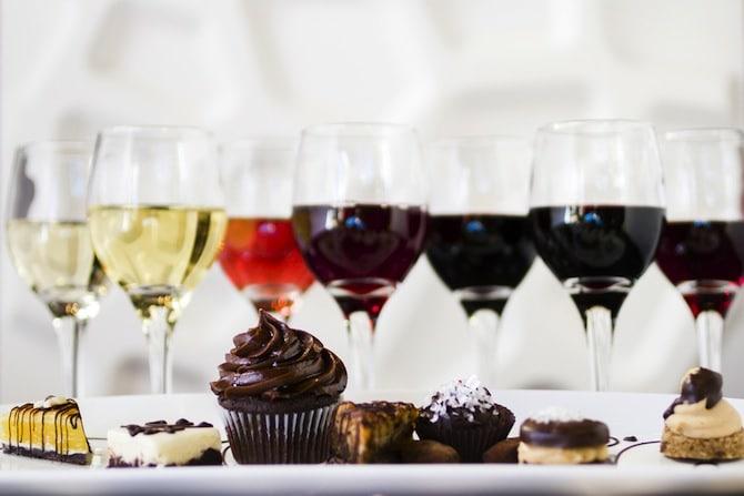 wine and dessert