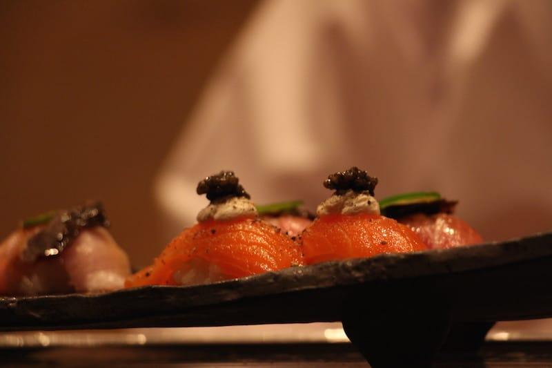 salmon nigiri, crème fraiche, caviar and aioli