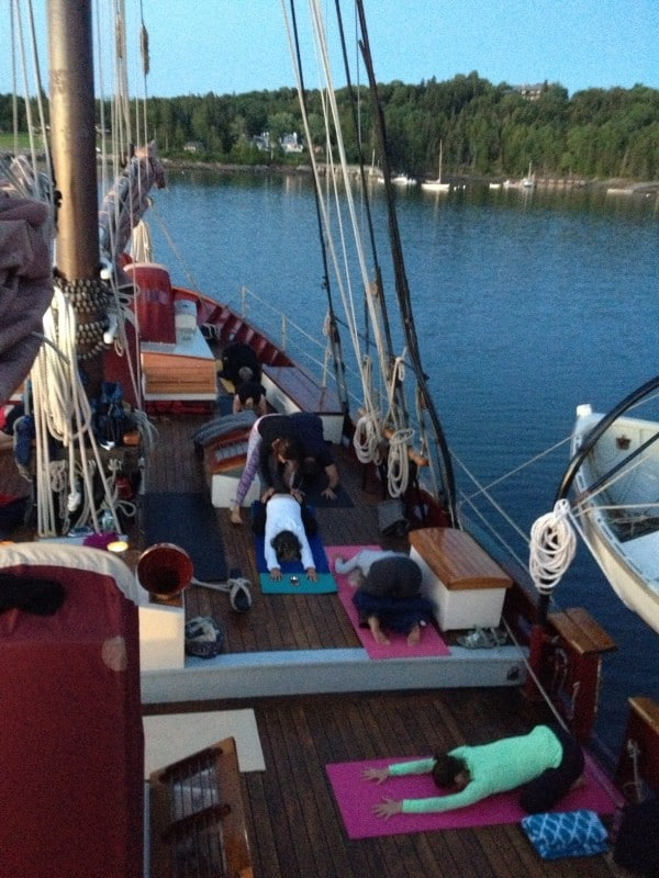 Yoga class on the boat. Photo courtesy of Angelique.